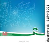 wales ribbon flag on blue sky... | Shutterstock .eps vector #615449021