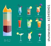 set of alcoholic cocktails... | Shutterstock .eps vector #615450401