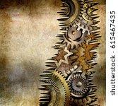 3d metallic gears background | Shutterstock . vector #615467435
