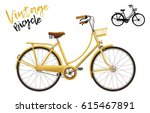 city bicycle. vintage style in... | Shutterstock .eps vector #615467891