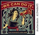 vintage propaganda poster and... | Shutterstock .eps vector #615468695