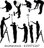 house painters silhouettes  ... | Shutterstock .eps vector #615471167