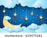 surreal night with big moon and ... | Shutterstock .eps vector #615475181