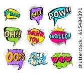 colorful comic speech bubbles... | Shutterstock .eps vector #615484391