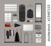vector set of wardrobe stuff ... | Shutterstock .eps vector #615487115