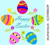 happy easter egg design   Shutterstock .eps vector #615488639
