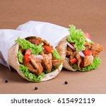 chicken shawarma | Shutterstock . vector #615492119