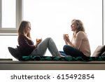 mother and adult daughter... | Shutterstock . vector #615492854