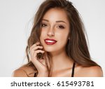 beautiful woman skin tanned red ... | Shutterstock . vector #615493781