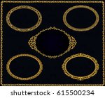 set of golden vintage frame.... | Shutterstock .eps vector #615500234