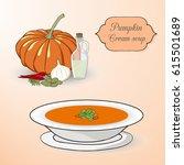 pumpkin cream soup set....   Shutterstock .eps vector #615501689