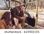 young couple taking a break on...   Shutterstock . vector #615502151