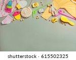 baby accessories background ...   Shutterstock . vector #615502325