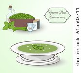 green peas and mint cream soup...   Shutterstock .eps vector #615503711