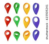 3d map pointer. colorful set of ... | Shutterstock . vector #615505241
