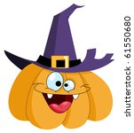 Cartoon Pumpkin Wearing A Witc...