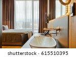 luxury hotel bedroom and... | Shutterstock . vector #615510395
