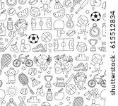 children kids fitness and sport ... | Shutterstock .eps vector #615512834