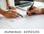 hands of engineer working on... | Shutterstock . vector #615521231