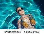 young pretty woman posing in... | Shutterstock . vector #615521969