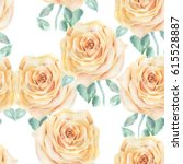 watercolor roses pattern.  | Shutterstock . vector #615528887