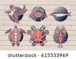 set of thin line fish labels on ...