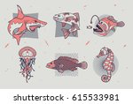 set of thin line fish and sea... | Shutterstock .eps vector #615533981