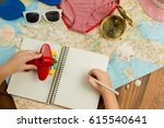 kids hands holding pen  writing ... | Shutterstock . vector #615540641