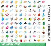 100 hobby icons set in... | Shutterstock .eps vector #615541175