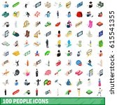 100 people icons set in... | Shutterstock .eps vector #615541355