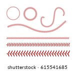 lace from a baseball on a white ... | Shutterstock . vector #615541685