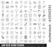 100 eco care icons set in... | Shutterstock .eps vector #615542531
