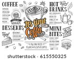 coffee food menu for restaurant ... | Shutterstock .eps vector #615550325
