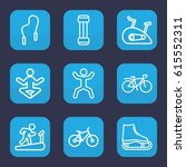 exercise icon. set of 9 outline ... | Shutterstock .eps vector #615552311