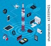 isometric internet technology... | Shutterstock .eps vector #615559421