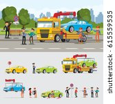 car evacuation concept with... | Shutterstock .eps vector #615559535