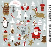 christmas cards with cute santa ... | Shutterstock .eps vector #615565061