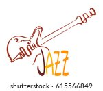 vintage guitar and jazz music... | Shutterstock .eps vector #615566849