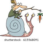 cartoon man riding a snail | Shutterstock .eps vector #615568091