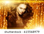 golden beautiful fashion woman  ... | Shutterstock . vector #615568979