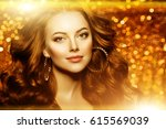golden beautiful fashion woman  ... | Shutterstock . vector #615569039