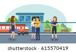 families with children and... | Shutterstock .eps vector #615570419