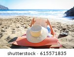 caucasian woman is reading a... | Shutterstock . vector #615571835