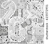 hand drawn zentangle background ... | Shutterstock .eps vector #615572951