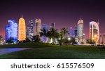 Stock photo the skyline of doha qatar by night seen from the sheraton park 615576509