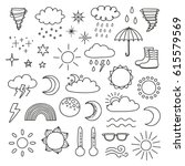 collection of doodle outline... | Shutterstock .eps vector #615579569