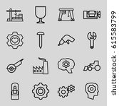 industrial icons set. set of 16 ... | Shutterstock .eps vector #615583799