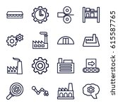 factory icons set. set of 16... | Shutterstock .eps vector #615587765