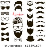hipster fashion set. haircuts ... | Shutterstock .eps vector #615591674