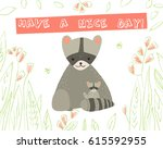 cute  raccoon with child and... | Shutterstock .eps vector #615592955